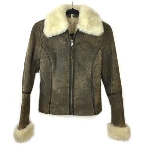 Express Jackets & Coats - Express Leather Bomber Jacket w/ Faux Fur Lining